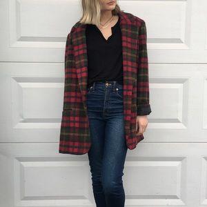 Unique Vintage Plaid Blazer Wool Coat
